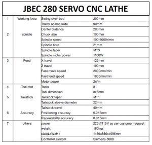 JBEC 280 SERVO CNC LATHE